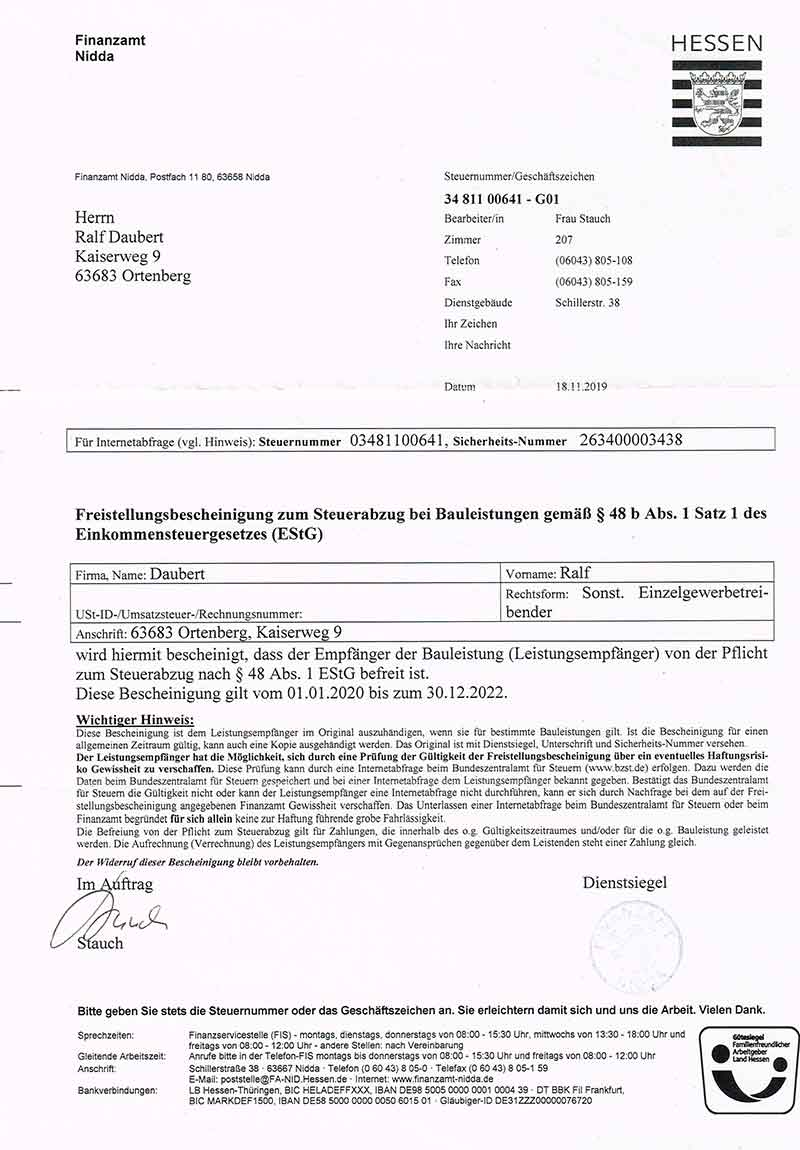 Freistellungsbescheinigung Daubert -gueltig bis 30.12.2022