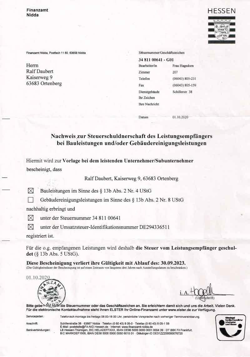 Nachweis zur Steuerschuldnerschaft des Leistungsempfängers bei Bauleistungen und/oder Gebäudereinigungsleistungen - Fliesen Daubert
